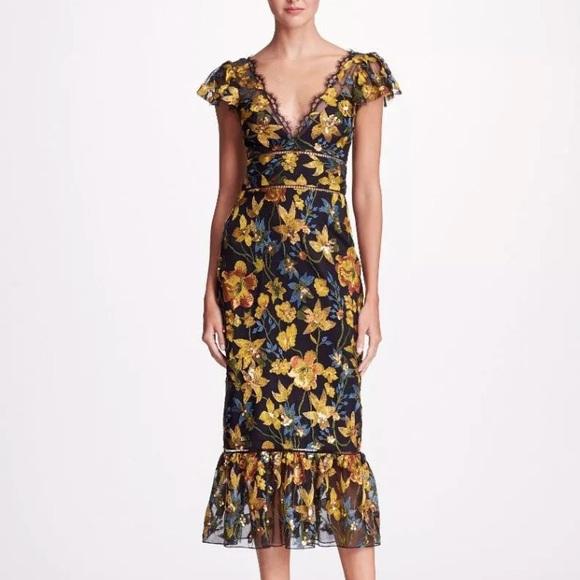 d84bdbe35b0 Marchesa Dresses | Nwt Notte Embroidered Midi Dress | Poshmark